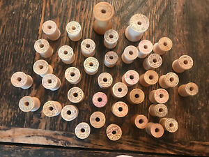 Vintage Lot of 40 BELDING CORTICELLI Empty Wood Thread Spools Crafting Sewing