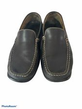 GEOX Respira Mens 44 Slip on Moc Toe Driving Loafers Shoes Black Leather
