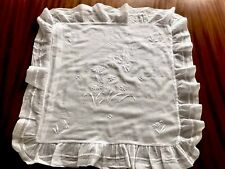 VINTAGE Large HAND EMBROIDERED Flowers & Butterfly WHITE MUSLIN CUSHION COVER