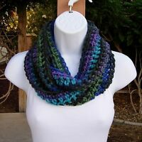 Small Winter Short INFINITY COWL SCARF Black Blue Purple Green Soft Crochet Knit