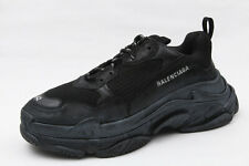Auth Balenciaga Triple S Black Leather Mesh Tonal Sneaker EU 42 US 9