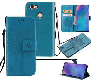 Oppo A73 A75 F5 Wallet Case Embossed Pu Leather Cat And Tree