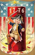 FIRECRACKER JULY 4TH EMBOSSED PATRIOTIC TUCK POSTCARD (c. 1908)**