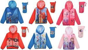Kids Boys Girls Paw Patrol Spiderman Frozen Lightweight Showerproof Jackets 3-8Y