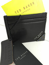 TED BAKER BLACK LEATHER CARD HOLDER WITH SILVER TONE HARDWARE CORNER BNWT