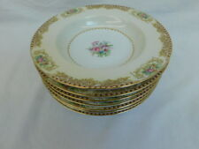 NORITAKE MYSTERY 203 CHINA OCCUPIED JAPAN RIMMED SOUP BOWL SET OF 7
