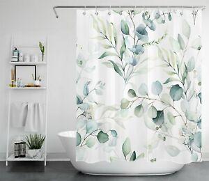 Watercolor Green Palm Eucalyptus Leaves Shower Curtain Set For Bathroom Decor