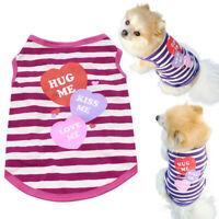 Pet Puppy Dog Summer T-Shirt Small Cats Clothes Stripes Heart Vest Apparel XS-L