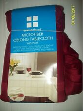 Essential Home Red Microfiber Oblong Tablecloth Westport-NEW Wipes Clean Instant