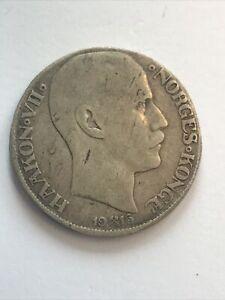 1915 Norway 1 Krone Silver Haakon VII Coin
