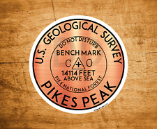 "Pikes Peak Colorado Benchmark Sticker Mountains 3"" Stickers"