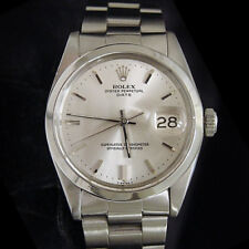 Mens Rolex Date Stainless Steel Watch Domed Bezel Oyster Band Silver Dial 1500