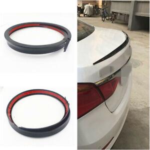Soft Car Rear Roof Trunk Spoiler Rear Wing Lip Trim Sticker Black 1.2M Universal