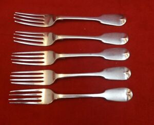 5 English Sterling Silver Luncheon Forks 1854 George Adams London (#2330)