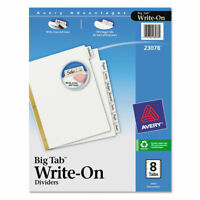 Avery Write And Erase Big Tab Paper Dividers, 8-Tab, White, Letter