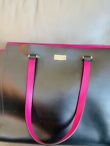 Kate Spade Stunning Black Large Tote Purse Hot Pink Interior