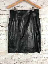Black Soft Leather Skirt Vintage Verducci Lined Size 12