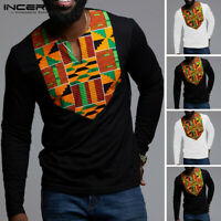 Men's African Dashiki Long Sleeve T-Shirt Ethnic Casual V Neck Ethnic Fitted Top