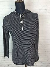 Talbots Womens Petites Medium Striped Hoodie Pullover Nautical Navy