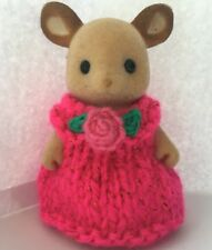 Sylvanian families clothes ~ knitted Pink Sparkle Dresses With Flower Child