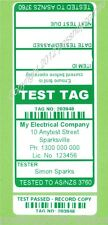 1000 CUSTOM GREEN Printed Electrical Adhesive Test Tag Labels