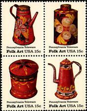 1979 15c Pennsylvania Toleware, Folk Art, Block of 4 Scott 1775-78 Mint F/VF NH