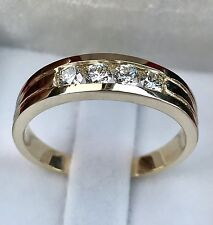 0.50 ct 14k Solid Yellow Gold men's Natural Diamond Ring Channel set made in USA