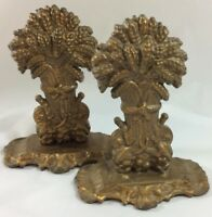 """Vintage Brass Wheat Book Ends Pair 6.5""""x2.5"""" Heavy Sturdy"""