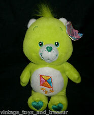 "8"" CARE BEARS DO YOUR BEST BEAR STUFFED ANIMAL PLUSH LIME GREEN KITE TAG  2002"