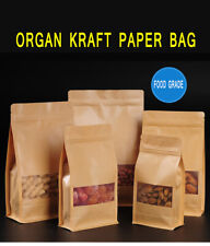 Kraft Paper Stand Up Zip Bags Food Grade Package Lock Pouches with Matte Window