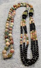 Vintage Chinese Export JADE Onyx other polished gems NECKLACE 3 strands