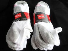 6 Pair Hanes Large No Show Casual Socks Cushion All Day Comfort White Grey  6-12