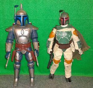 "Star Wars Electronic Battling JANGO FETT + Collector Series BOBA FETT 12""  Lot"