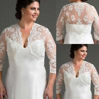Plus Size Wedding Jacket Bolero Lace Applique Coat White Ivory Long Soft Tulle