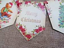 Traditional Vintage 'Merry Christmas' Christmas Bunting/Banner & Ribbon - 2.5m