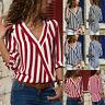 Women V Neck Long Sleeve Blouse Tops Shirt Ladies Striped Chiffon Casual Top