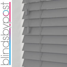 GREY Wooden Venetian Blinds - 25,35 & 50mm Wood Made To Measure Blind Child Safe