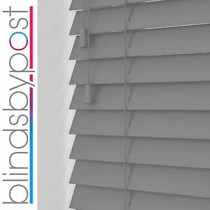 GREY Wooden Venetian Blinds 25 35 and 50mm Wood Made To Measure Blind Child Safe