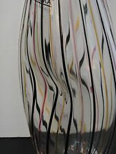 LIBERA CZECH REPUBLIC INDENTED GLASS VASE BEAUTIFUL MULTICOLORED RAISED STRIPES