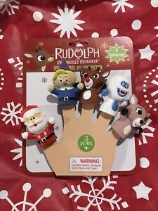 Rudolph The Red-Nosed Reindeer Finger Puppets Santa Elf Christmas Bath Toy NEW