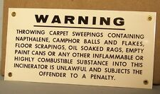 Great Vintage New York City Porcelain Sign - Flamable Material Warning