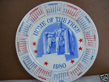 """Home Of The Free 1980 Calender 9.25"""" Calendar Plate By Spenser Gifts"""