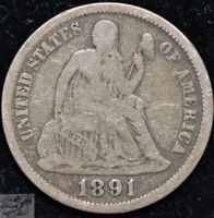 1891 O Seated Liberty Dime, Very Good Condition, Silver, Free Shipping, C5122