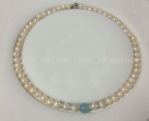 NEW NATURAL 7-8MM REAL WHITE PEARL & 10MM NATURAL BLUE JADE BEADS NECKLACE 18""