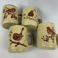 Set of 4 Vintage Brown Speckle Bird Coffee Cups Mugs - Each has a Different Bird