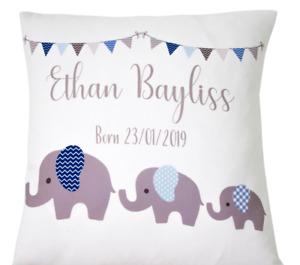 "Personalised baby boy Elephant grey 16"" white cushion/pillow cover boy nursery"