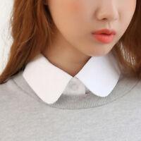 Women Solid Cotton Detachable Lapel Choker Necklace Shirt Fake False Collar Hot