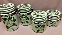 American Atelier Magnolia Blossom Stoneware 4-Pc Canister Set Air-Tight Lids