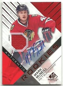 2016-17 SP Game Used RED #196 MARK McNEILL BLACKHAWKS AUTO ROOKIE JERSEY RC