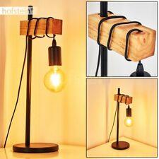 Vintage Wohn Schlaf Raum Beleuchtung Holz Lese Nacht Tisch Lampe Leuchte schwarz